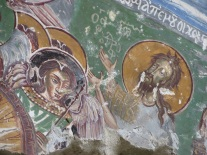 Detail of fresco at the Sumela chapel